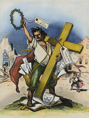 "An 1896 political cartoon by Grant Hamilton satirizing William Jennings Bryan and his ""Cross of Gold"" speech"
