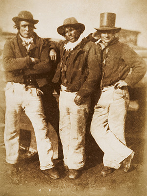 David Octavius Hill and Robert Adamson, Newhaven Fishermen, ca. 1845, salted paper print from a paper negative