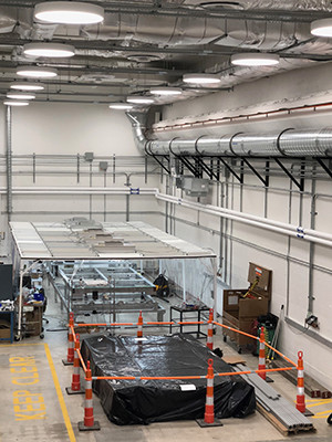 The high bay space and clean room facilities at Yale's Wright Laboratory.