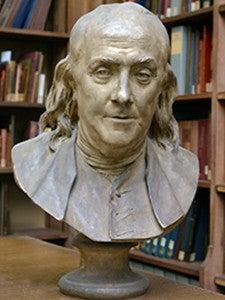 Bust of Benjamin Franklin.