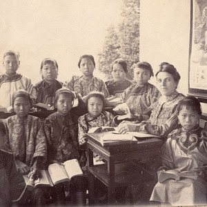 Grace W. Thomas Smith with her class of girls at the orphanage her husband, Edward Huntington Smith, ran in China.