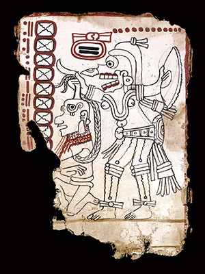 A page of the Maya Codex of Mexico, in which a death god decapitates a captive.
