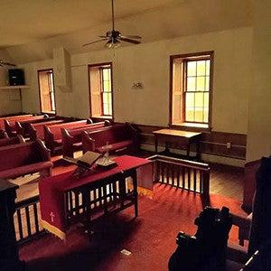 Inside the Austin Grove Church in Bluemont, Virginia.