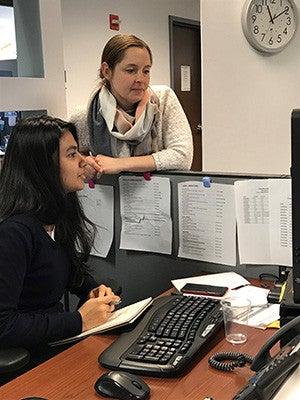 Yale CIPE program director Kathryn Bell with Yale-NUS student Swarnima Sircar.