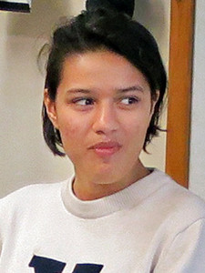 Laura Padilla in a Yale sweatshirt