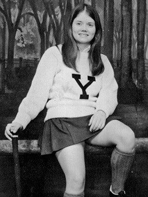 Mifflin in her field hockey uniform as an undergraduate