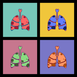 Pop art-style illustration of cancerous lungs.
