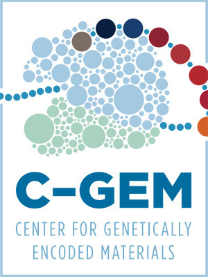 A logo for the Center for Genomically Encoded Materials.