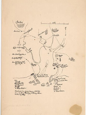 Hand-drawn map by Yale President Ezra Stiles showing the British movements during their 1779 invasion of New Haven