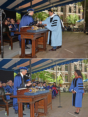 Neil DeGrasee Tyson and Angela Bassett receive honorary degrees at the 2018 Yale Commencement ceremony.