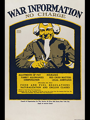 WWI propaganda poster with Uncle Sam.