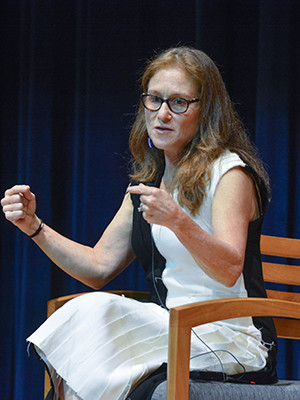 Randi Epstein during a Q and A at Yale medical school.
