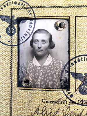 Koestenbaum's great-aunt Alice Gutfeld pictured age 41, in her reisepass, or passport, she used to leave Germany.