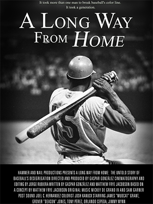 Poster showing an African American baseball player with a bat over his shoulder