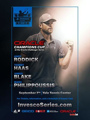Oracle Champions Cup poster with Andy Roddick