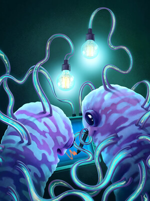 Cartoon illustration of bacteria drawing by light of their own nano-tendrils