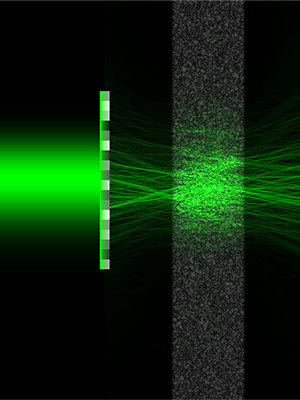 Spatial wavefront laser propagating through a strongly scattering medium without latteral diffusion.