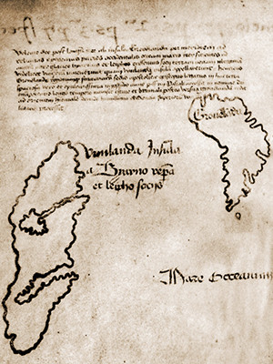 A section of the Vinland Map containing Greenland and part of North America, or Vinland