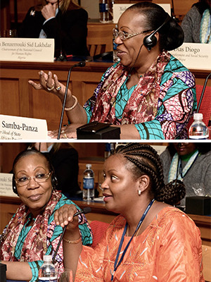 Her Excellency Catherine Samba Panza and Isata Kabia, Minister of Social Welfare, Gender and Children's Affairs in Sierra Leone