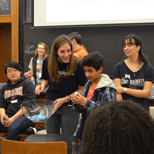 A group game being played at the College Decision Panel, hosted by STEM Mentors at Yale.