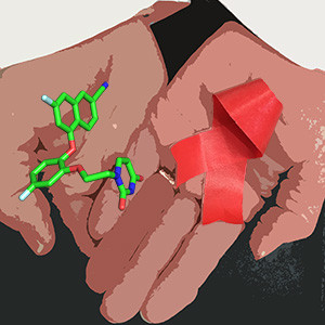 Stylized hands holding a chemical compound and an AIDS ribbon.