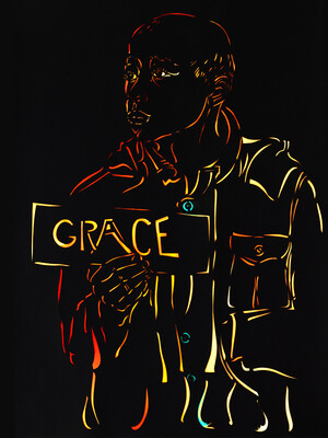 """Grace,"" cut paper and hand-printed color, 26 x 40 inches, is a title piece from Thomas's upcoming exhibition"