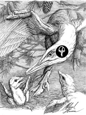illustration of bird like dinosaur with their babies.