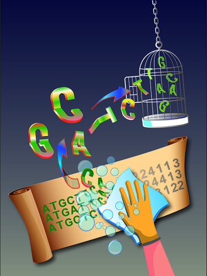 Illustration - scrubbing computer data from DNA