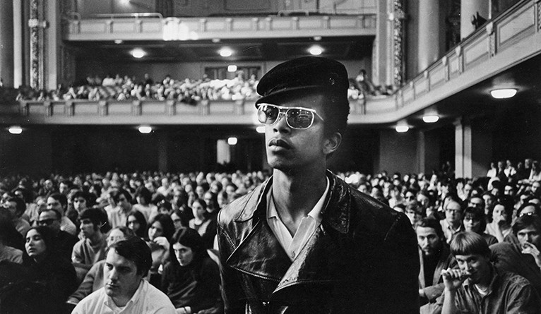 Black Panther Party rally at Woolsey Hall. From Yale Alumni Magazine, May 1970.