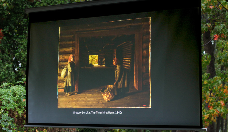 "The class discussed ""The Threshing Barn,"" a painting by 19th-century artist Grigory Soroka."