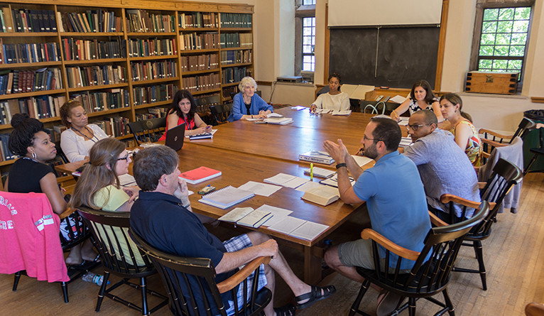 Janice Carlisle (in blue, at center) teaches a class in 2016.