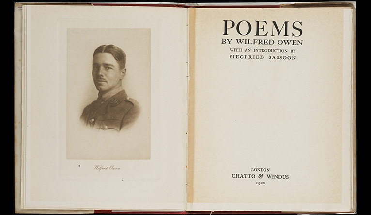 The frontspiece of a book of poems by Wilfred Owen, a part of the collection of the Beinecke Rare Book and Manuscript Library.