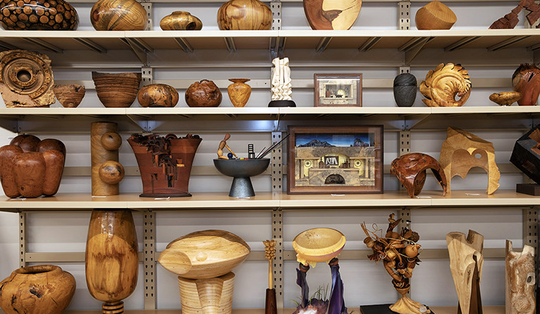 wooden decorative pieces on display