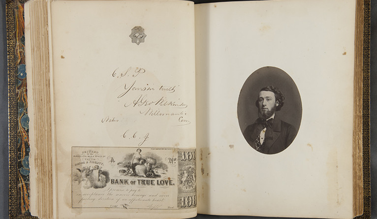 A photo of student and signature from the Yale Calss of 1856.