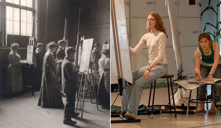 Women at work at the School of Fine Arts in the 1800s, and female Yale School of Art students painting in the 2000s