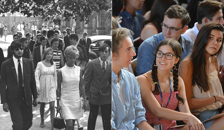 Two coed group of incoming Yale undergrads, from 1969 and 2019.