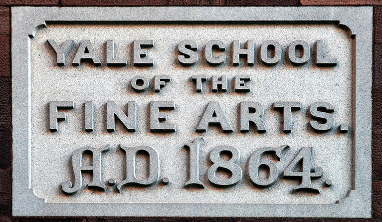 A plaque on the outside of Street Hall today: Yale School of Fine Arts A.D. 1864
