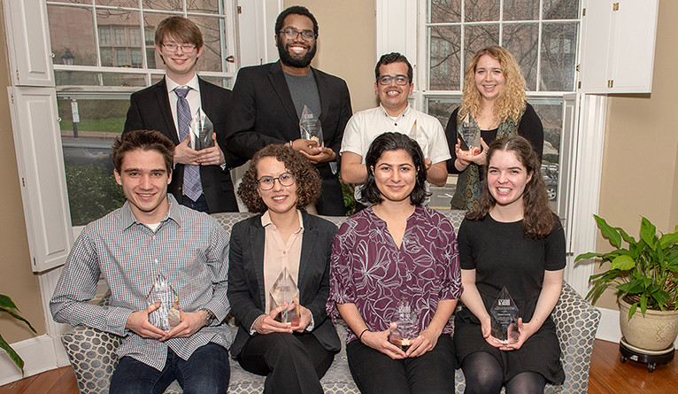 10 student recipients of the inaugural Y-Work Award for Outstanding Undergraduate Student Employees.