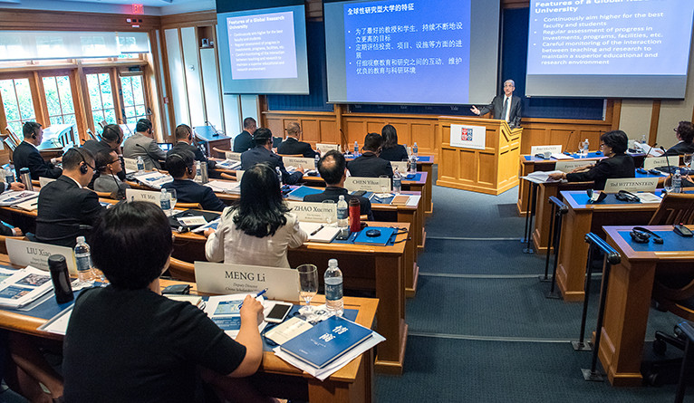 President Peter Salovey presents a session to participants of the China-Yale Advanced University Leadership Program.