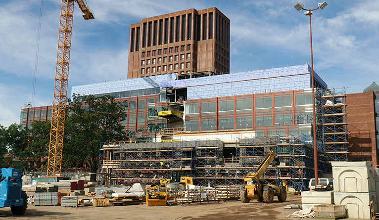 The new science building under construction on Prospect Street.