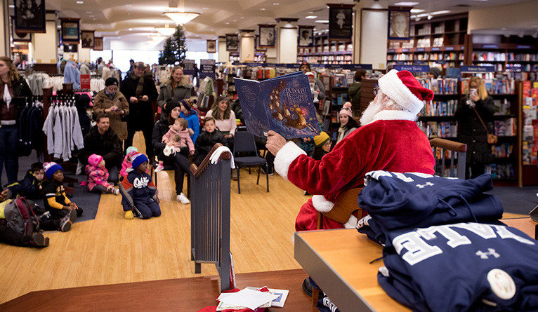 Santa visits the Yale Bookstore in 2018.