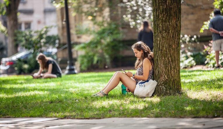 Student sitting beneath a tree.