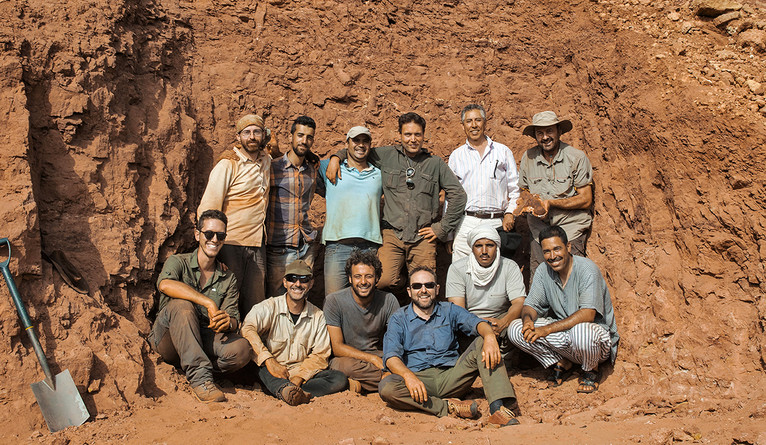 Yale paleontologist Matteo Fabbri, front row center, was part of a team of researchers conducting field work in Morocco.