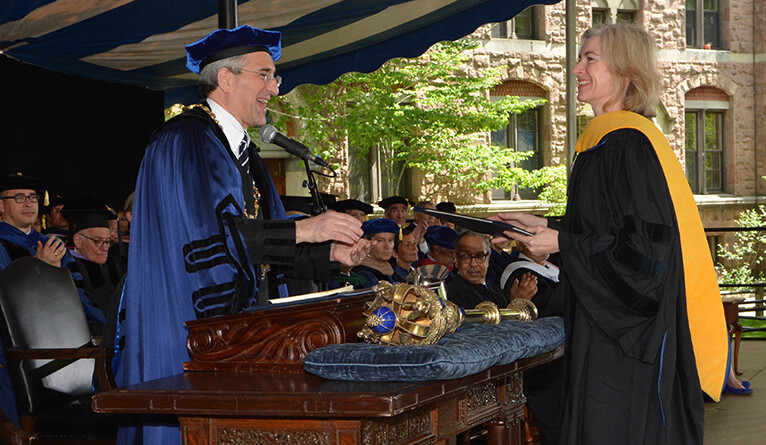 Doudna receives an honorary doctorate from President Peter Salovey in 2016.