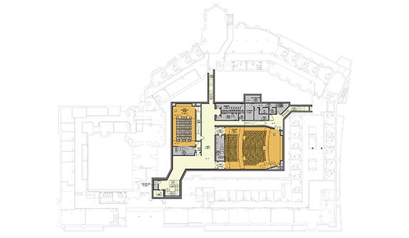 Floor plan for the basement level of the Hall of Graduate Studies at Yale.