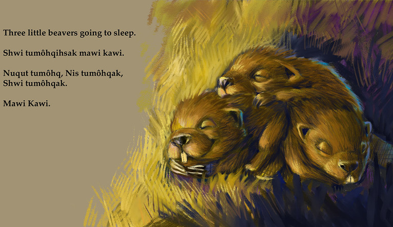 A page from Stephanie Fielding's book Mawi Kawi, featuring an illustration of three sleeping beavers.