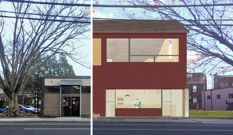 Photo split to show original building and artist rendering.