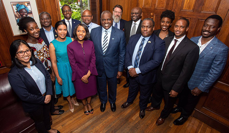 President Masisi and First Lady Neo Jane Masisi (in purple) met with a variety of Yale faculty and students.