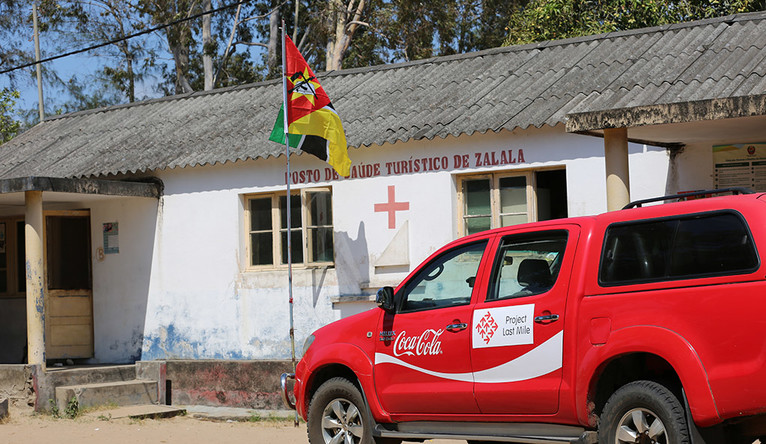 A Project Last Mile truck visits a clinic in Mozambique.