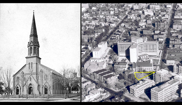 St. John's Church in 1870 (left) showing headstones in the churchyard. Right: An aerial view of St. John's in the 1950's
